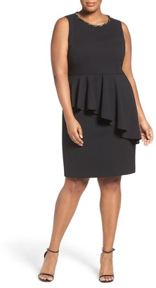 Eliza J Sleeveless Peplum Sheath Dress (Plus Size)