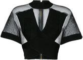 Balmain ribbed crossover mesh top - women - Polyamide/Viscose - 36