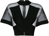 Balmain ribbed crossover mesh top