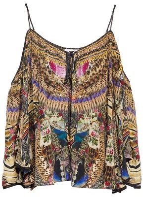 Camilla Stronger Together Cold-shoulder Embellished Printed Silk Crepe De Chine Top
