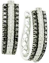 DazzlingRock Collection 1.03 Carat (ctw) 14k White Gold Round & White Diamond Ladies Fashion Hoops Earrings