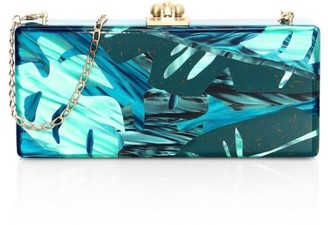 Edie Parker Medium Slim Leaf-Print Acrylic Clutch