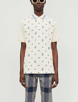 Gucci Graphic-print cotton polo top