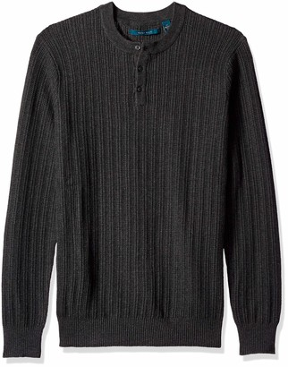 Perry Ellis Men's Big Stripe Henley Sweater
