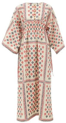 Gucci Floral Cotton-blend Jacquard Kaftan Dress - White Print