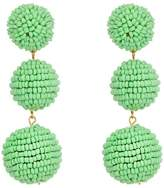 Kenneth Jay Lane 2 Mint Green Seed Bead Wrapped Ball Post Earrings w/ Dome Top Earring