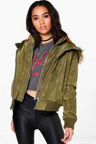 Boohoo Petite Grace Double Layer MA1 Bomber Jacket khaki