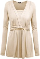DJT Women's V-Neck Long Sleeve Ruched Bow Knot Front Casual T-shirt Blouse Top