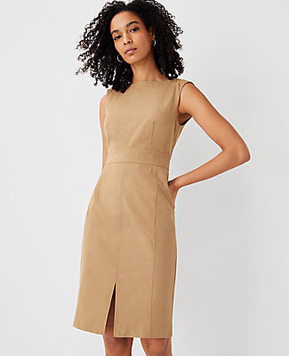 Ann Taylor The Topstitched Front Slit Sheath Dress