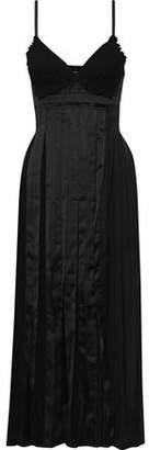 3.1 Phillip Lim Pleated Paneled Cotton, Silk And Satin Midi Dress