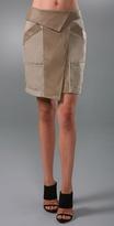 Asymmetrical Khaki Skirt with Leather Detail