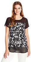 Vince Camuto Women's S/s Broken Prism Mix Media Top