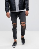 Asos Skinny Cropped Jeans With Extreme Knee Rips In Washed Black