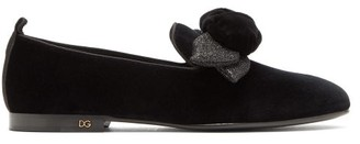 Dolce & Gabbana Young Pope Rose-applique Velvet Loafers - Womens - Black