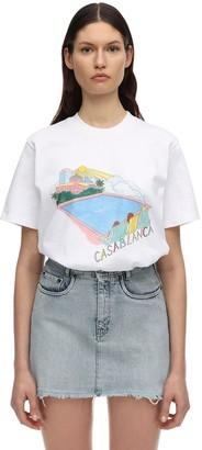 Casablanca Casa Pool Print Cotton Jersey T-shirt