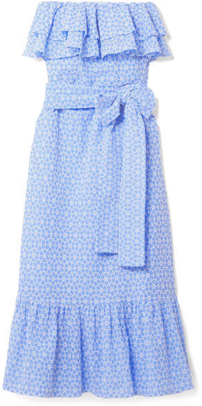 Lisa Marie Fernandez Sabine Strapless Broderie Anglaise Cotton Maxi Dress - Light blue