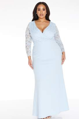 Quiz Curve Blue Lace Maxi Dress