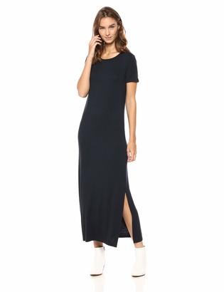 Daily Ritual Amazon Brand Women's Jersey Crewneck Short Sleeve Maxi Dress with Side Slit