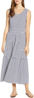 BeachLunchLounge Kamala Stripe Tiered Jersey Midi Dress