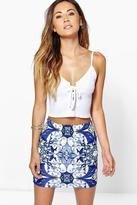 Boohoo Bella Tonal Blue Scuba Mini Skirt