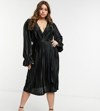 ASOS DESIGN Curve blouson sleeve belted wrap midi dress in black