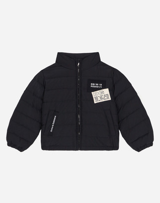 Dolce & Gabbana Short Nylon Down Jacket With Logo Patch