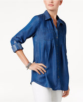 Style&Co. Style & Co Petite Denim Roll-Tab Shirt, Only at Macy's