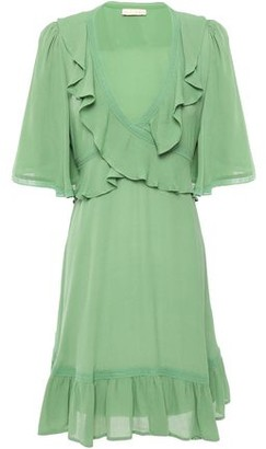 By Ti Mo Lace-trimmed Ruffled Crepe Mini Dress