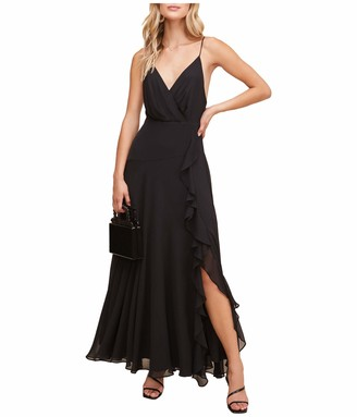 ASTR the Label Women's Sleeveless Surplice V-Neck Holland Ruffled Full Length Bridesmaid Dress