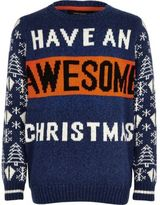River Island Boys blue 'Awesome' Christmas sweater