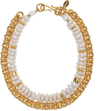 Lizzie Fortunato Niki Pearl-Embellished Gold-Plated Necklace