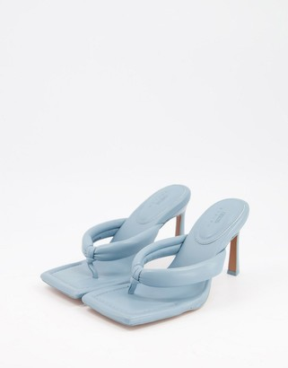 ASOS DESIGN Haven padded toe thong heeled sandals in blue