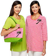 Quacker Factory Set of Two Summertime T-shirtsand Tote