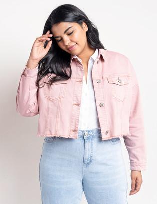 ELOQUII Pink Boyfriend Crop Denim Jacket