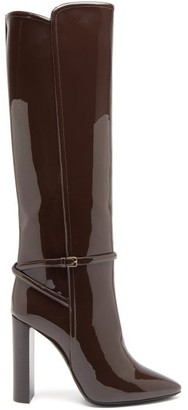 Saint Laurent Jane Patent-leather Knee-high Boots - Dark Brown