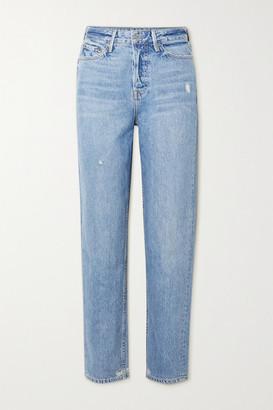 GRLFRND Devon Distressed High-rise Straight-leg Jeans - Light denim