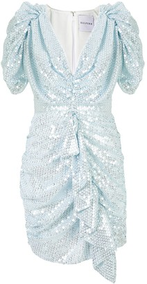 Halpern Ruched Sequin Mini Dress