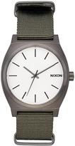 Nixon Time Teller Nato Watch Silver