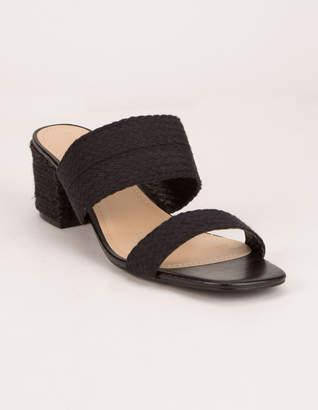 Wild Diva Dual Strap Jute Wrap Black Womens Block Sandals