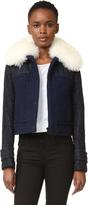 Carven Faux Fur Collar Coat