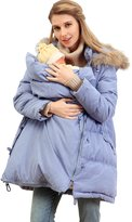 Sweet Mommy Maternity and Mother's Down Coat with baby wearing pouch