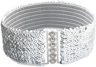 Little Sporter Women's Wide Metal Buckle Stretch Elastic Waist Belt Suit Belt Hip Belt White
