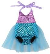 Wennikids Baby Girls Sequins Mermaid Bodysuit Romper Jumpsuit Summer Sunsuit Outfits Medium