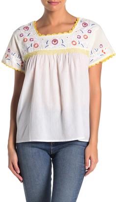Catherine Malandrino Embroidered Short Sleeve Blouse (Petite)