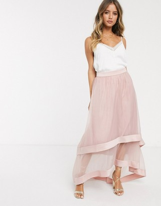Chi Chi London high low organza maxi skirt in blush