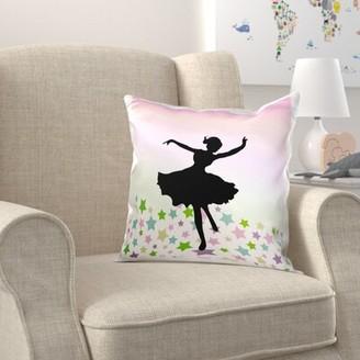 Zoomie Kids Broadbent Spinning Ballet Dancer Dancing Amongst the Stars Girly Dance Pillow Cover