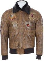 Mens SUPER SOFT Real Leather Brown Aviator Pilot Bomber Jacket Fur Collar by MDK