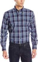Nautica Men's Long Sleeve Wrinkle Resistant Poplin Navy Large Plaid Shirt