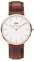 Daniel Wellington Classic St Mawes Rose Gold and Leather Strap Watch, 40mm