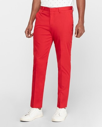 Express Victor Oladipo Slim Red Cotton Stretch Suit Pant